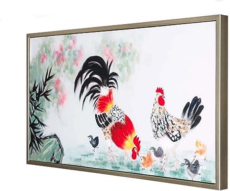 Peinture A L Huile Avec Cadre Coq Poule Poussins 104 Cm Amazon Fr Cuisine Maison