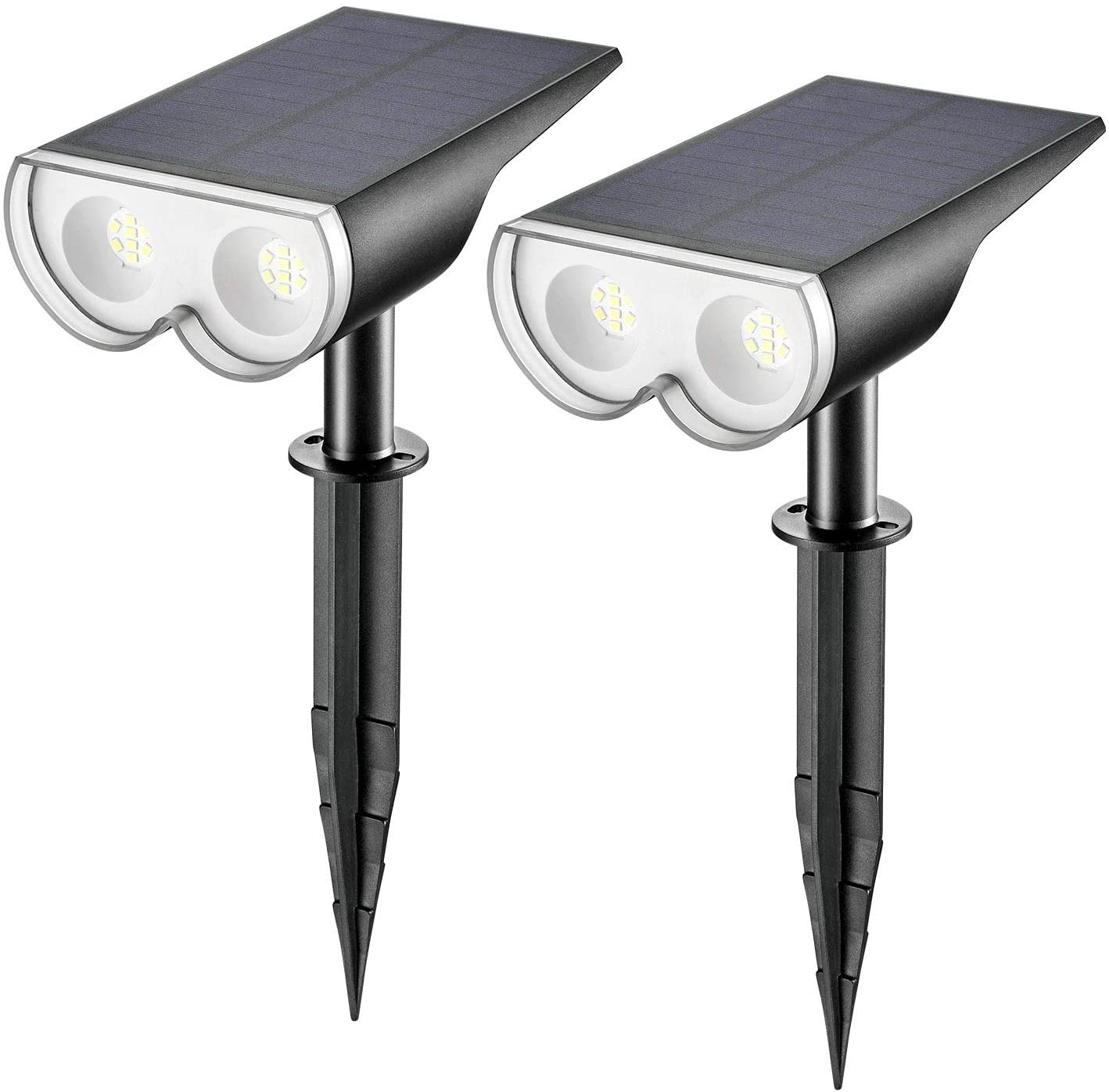 Linkind 16 LEDs Solar Landscape Spotlights, Dusk-to-Dawn IP67 Waterproof Solar Powered Spot Lights, 6500K Daylight White, Outdoor Wall Lights for Garden Yard Driveway Porch Walkway, 2 Pack