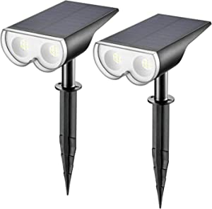 Linkind 16 LEDs Solar Landscape Spotlights, Dusk-to-Dawn IP67 Waterproof Solar Powered Spot Lights, 6500K Daylight White, Outdoor Wall Lights for Garden Yard Driveway Porch Walkway, 2 Pack