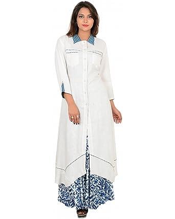 1d8e220f11e Ocean Vision Flared White Long Women s Kurti  Amazon.in  Clothing    Accessories