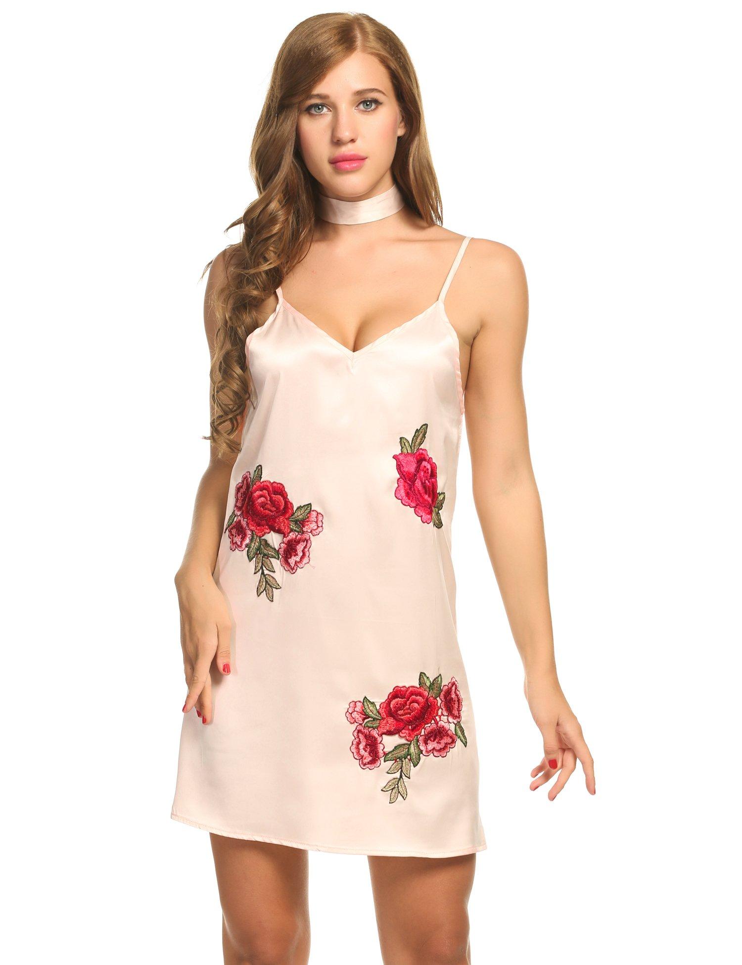 Women Sexy Sleepwear Satin Spaghetti Strap Chemises Slip Nightgown Beige, S