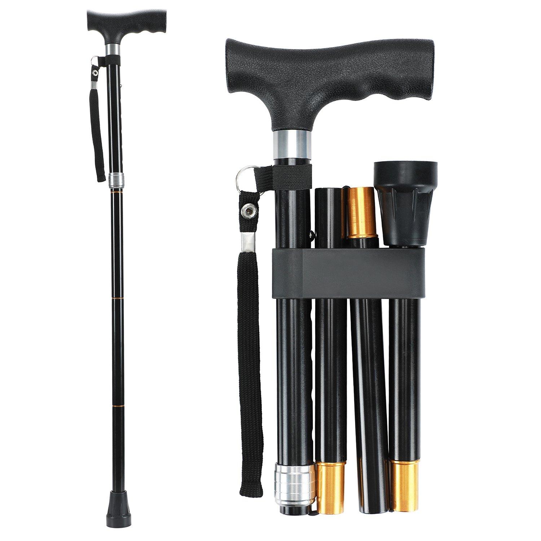 Saymeto Folding Cane, Lightweight Walking Cane for Men & Women & Ladies, Adjustable Walking Stick Mobility Aid, Comfortable Handles, Black (30-35'')
