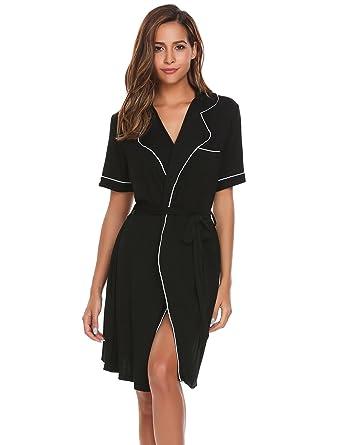 Ekouaer Womens Robes Nightgowns 2pcs Set Lightweight Knit Sleepwear ... 79dfe9b0f