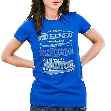 style3 Die meisten Menschen rufen mich beim Namen aber die wichtigsten  nennen mich Mama Damen T-Shirt: Amazon.de: Bekleidung