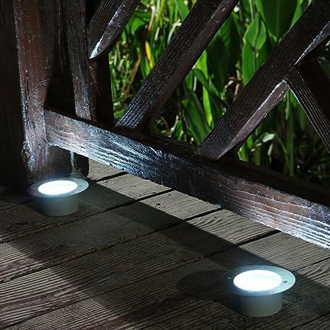 2 LED suelo de acero inoxidable Bried lámpara solar de mesa ...