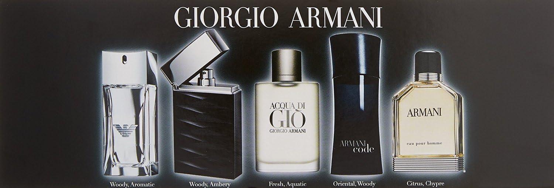 Juego de 5 perfumes de Giorgio Armani, en miniatura, para hombre: Amazon.es: Belleza