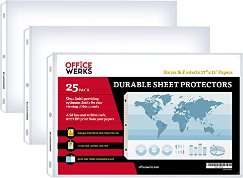 Amazon Com 11 X 17 Sheet Protectors Landscape View 25 Pack Side Loading Protect Store And Display 11x17 Paper Photographs Prints And Documents Office Products