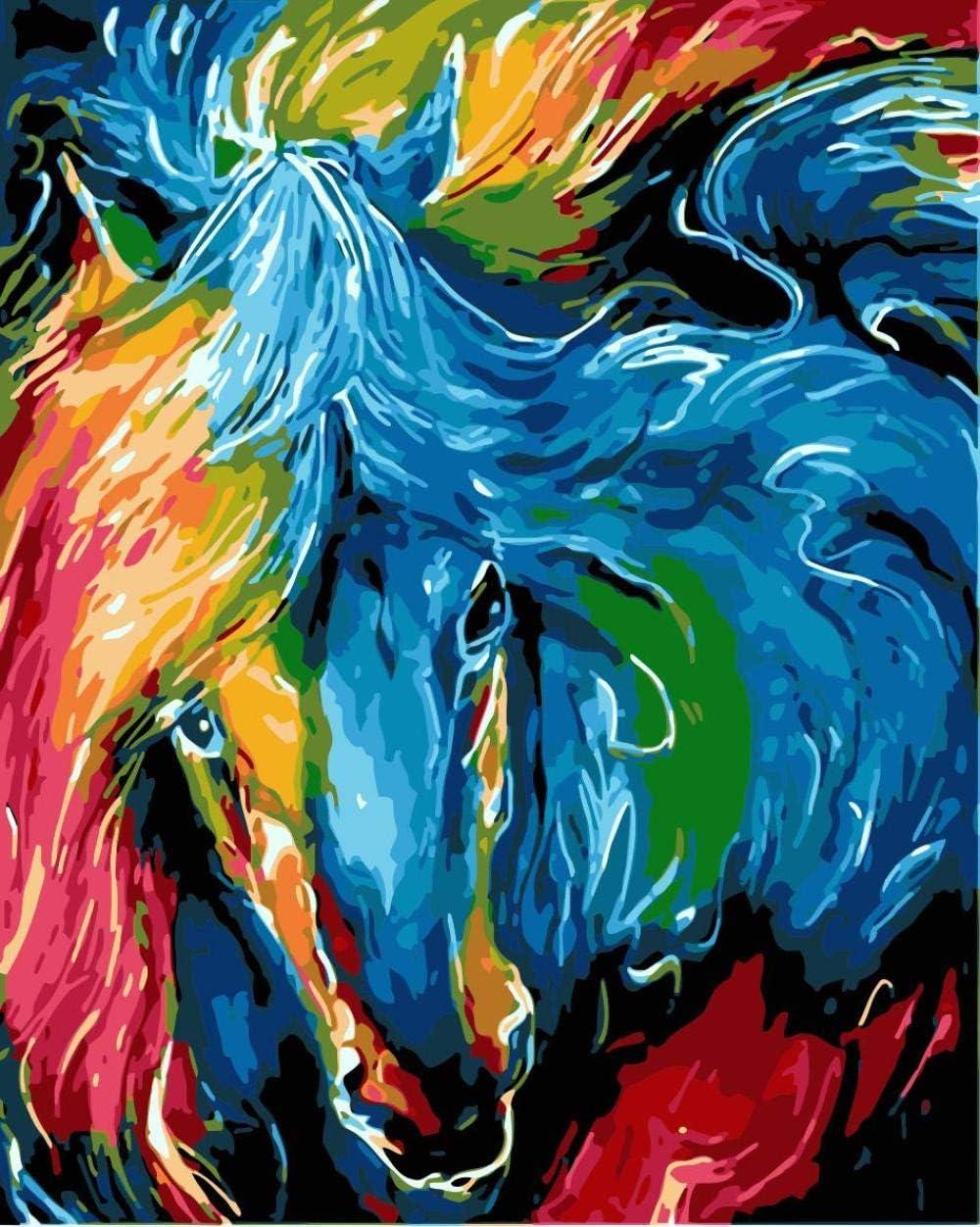 Zhonchng Digital Bricolaje Cabeza De Caballo De Color Pintura Al Óleo Cuadro Por Números En Decoración De Pared De Arte 40 * 50 Cm-Con Marco