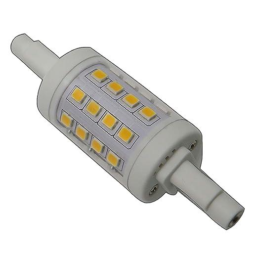Bombilla led R7s, 78mm, 6W, regulable, redondo,