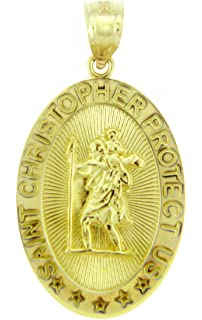 Amazon reversible 10k yellow gold st michael medal protection 14k yellow gold saint christopher medal catholic protection pendant aloadofball Gallery
