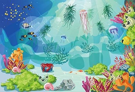 Ieyiyi 7 x 5 pies fondo de fotografía infantil feliz cumpleaños dibujos animados bajo el agua mundo acuario tropical peces ...