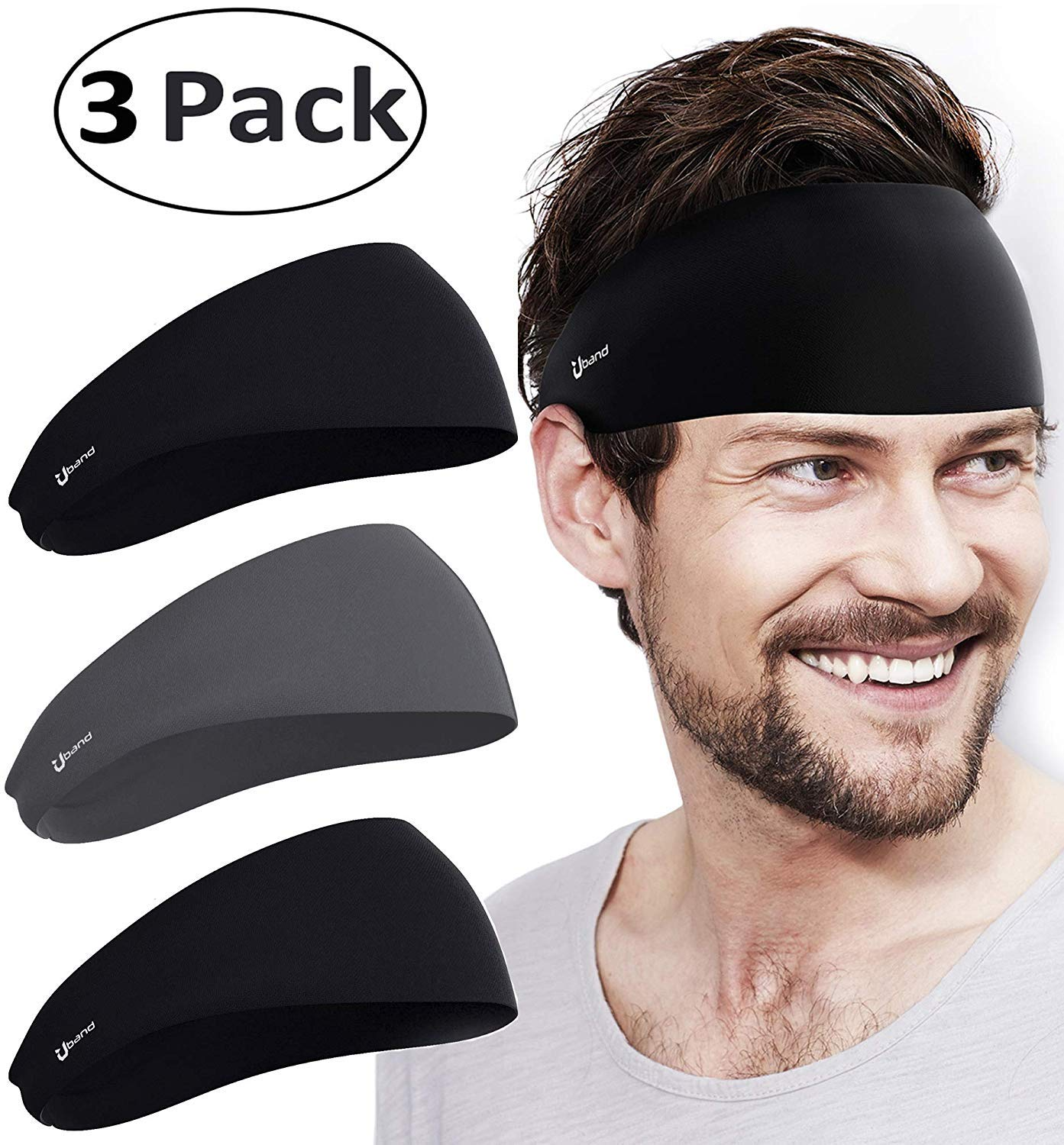 Self Pro Mens Headbands 3 Pack Guys Sweatband & Sports Headband for Running, Cross Training, Racquetball, Working Out - Performance Stretch & Moisture Wicking by Self Pro