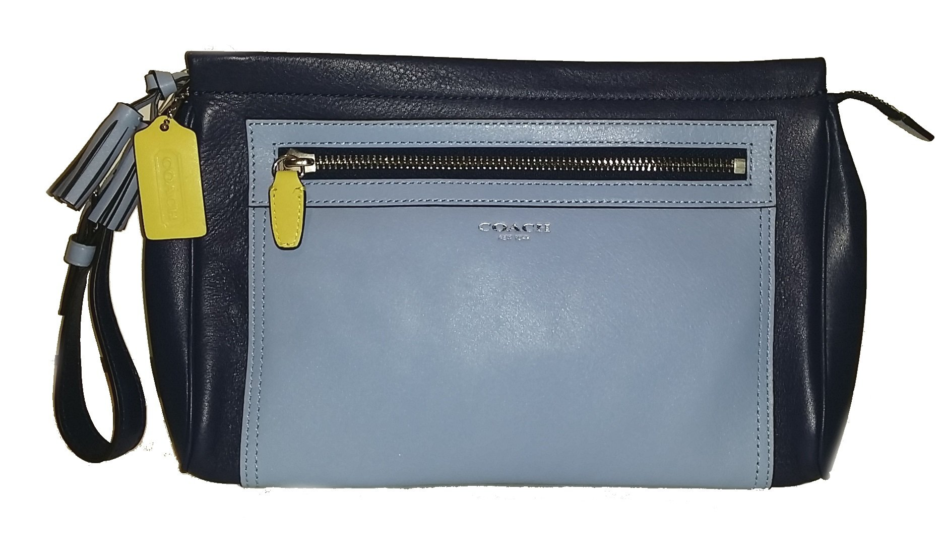 Coach Legacy Color Block Leather Large Clutch Wristlet Makeup Travel Case by Coach