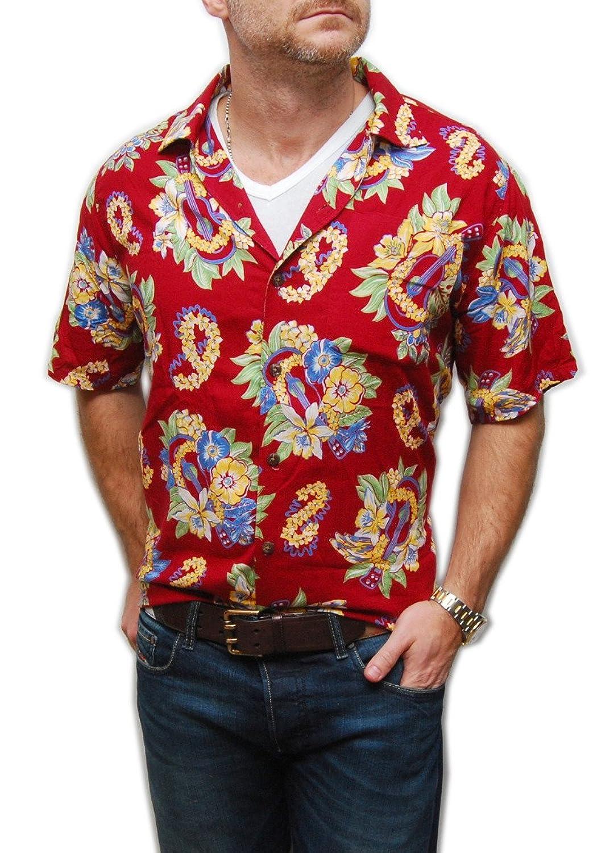 Polo Ralph Lauren Mens Floral Hawaiian Music Shirt Red Yellow Green Blue XL  at Amazon Men's Clothing store:
