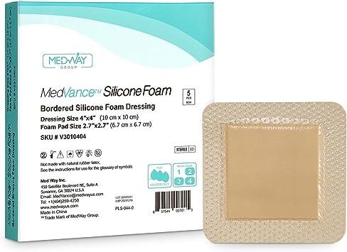 MedVanceTM Silicona - Apósito de espuma adhesiva de silicona con borde Tamaño 10 cm x 10 cm (almohadilla de 7 cm x 7 cm), caja de 5 apósitos: Amazon.es: Salud y cuidado personal