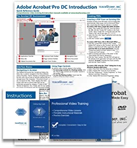 Learn Adobe Acrobat Pro DC DELUXE CPE Training Tutorial Package- Video Lessons, PDF Instruction Manuals, Printed and Laminated Quick Reference Guide, Testing Materials, and Certificate of Completion