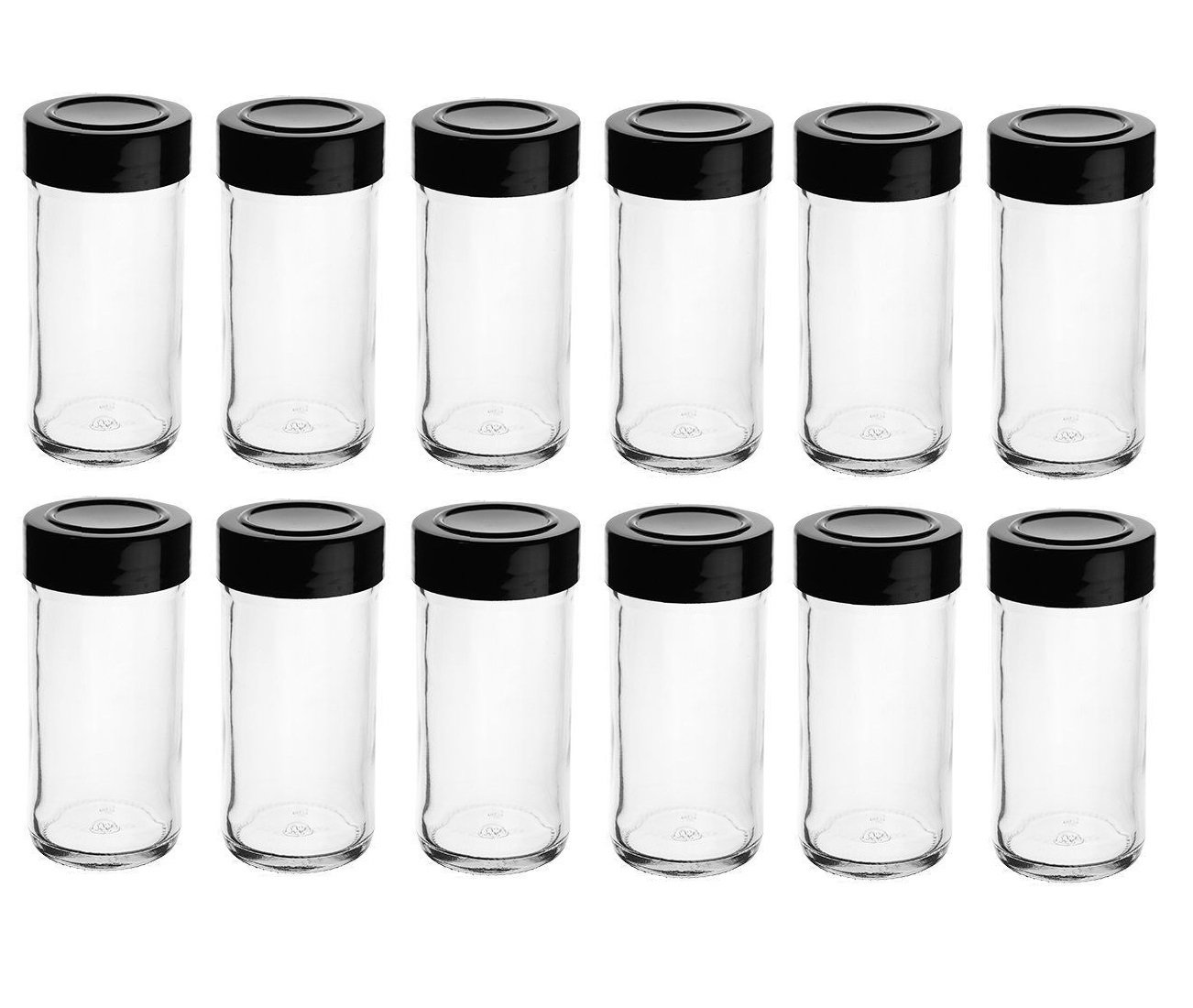 Nakpunar 12 pcs Glass Spice Jars with Shaker Sifter and Stackable Black Lids - 4 oz
