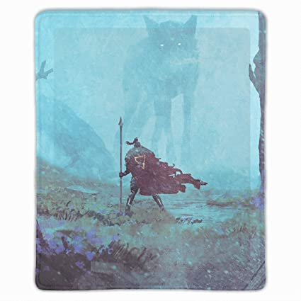 Amazon Com Mouse Pads Fantasy Art Wolf Forest Spear Mist