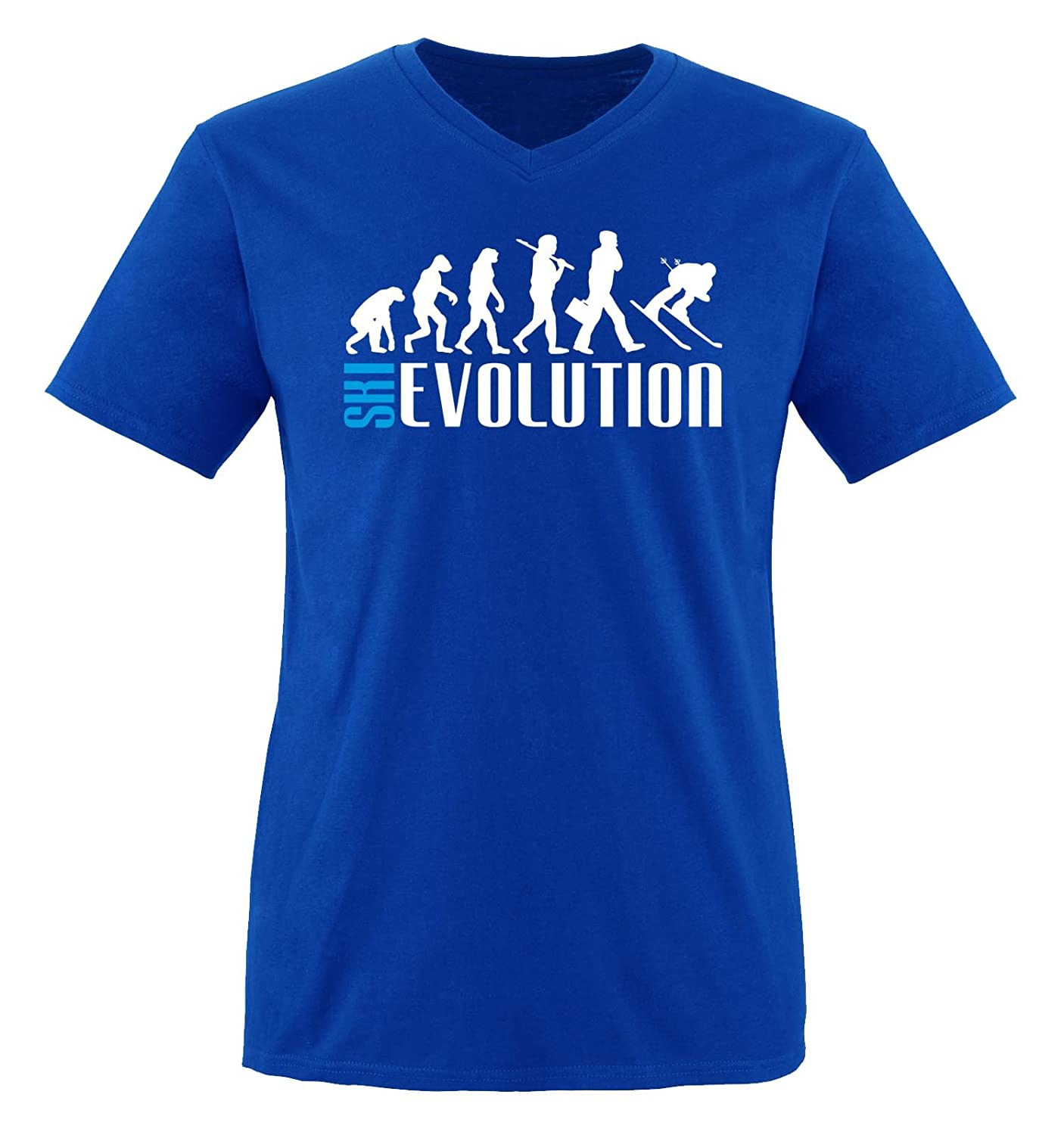 Comedy Shirts - SKI EVOLUTION - Herren V-Neck T-Shirt - Gr. S-XXL Versch. Farben