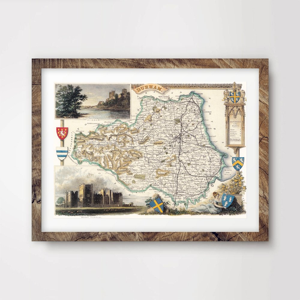 10 Sizes DURHAM COUNTY VINTAGE MAP ART PRINT POSTER Britain British UK Antique Historical Home Decor Wall Picture A4 A3 A2