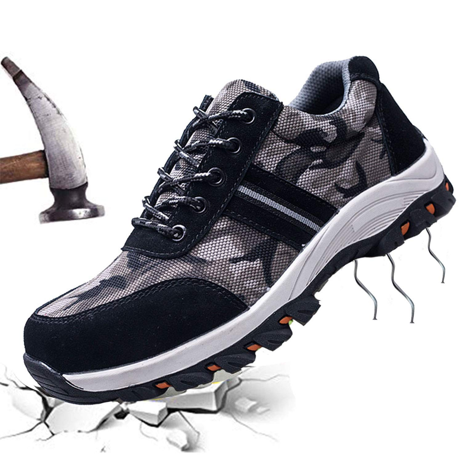 JACKSHIBO Mens Womens Work Safety Shoes,Breathable Outdoor Steel Toe Footwear Industrial and Construction Shoes, Hiking Shoes by JACKSHIBO (Image #1)