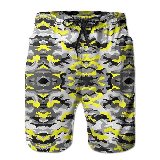 7ddbfad16f4 Mortimer Yellow Grey Camo Men s Summer Casual Swimming Shorts Beach ...