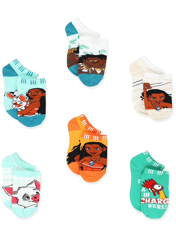 Disney Princess Moana Girls Toddler Womens No Show 6 pack Socks Set