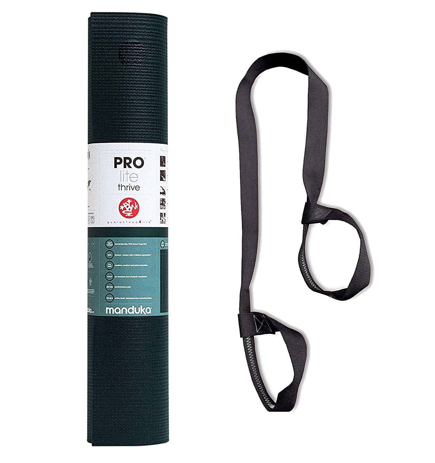 PlayBetter Manduka Prolite Yoga & Pilates Mat Bundle Adjustable Strap Carrier | 5mm Non-Slip Surfaces, Eco-Certified PVC & Polyester