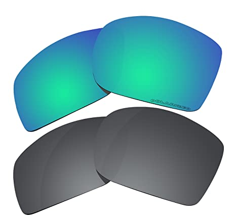 b1858a69b75 2 Pairs Polarized Lenses Replacement for Oakley Big Taco Sunglasses Green    Black - - Amazon.com