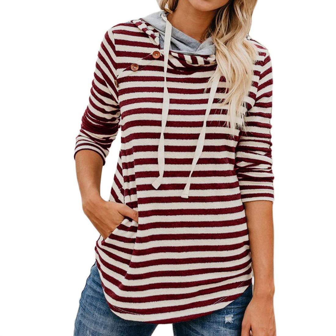 Striped Sweatshirts Hoodie Tops for Women Button Sweatshirt Long Sleeve Double Hoodie