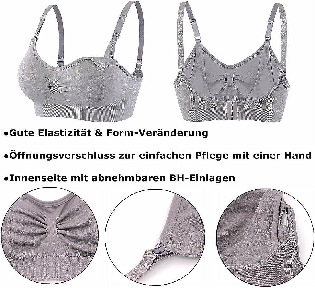 Srizgo Still BH Damen 5er Pack Schwangerschaft Still-BHS Zus/ätzlichen BH-Verl/ängerungen Ohne B/ügel Nahtlose Tag und Nacht Still-BH Schwarz+wei/ß+haut+grau+rosa, M