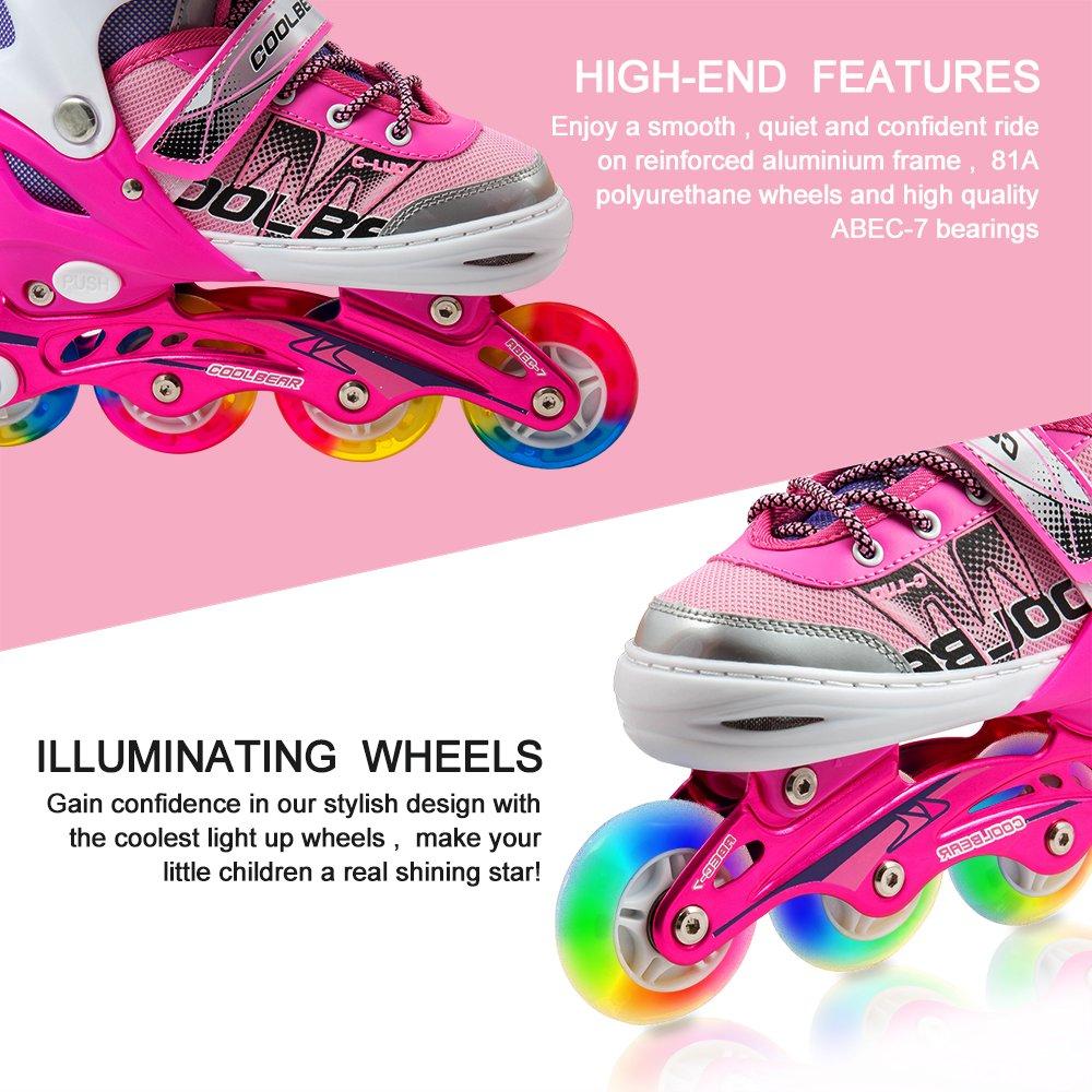 Otw-Cool Adjustable Inline Skates for Kids Girls, Roller Skates with All Wheels Light up, Safe and Durable Inline Roller Skates for Girls