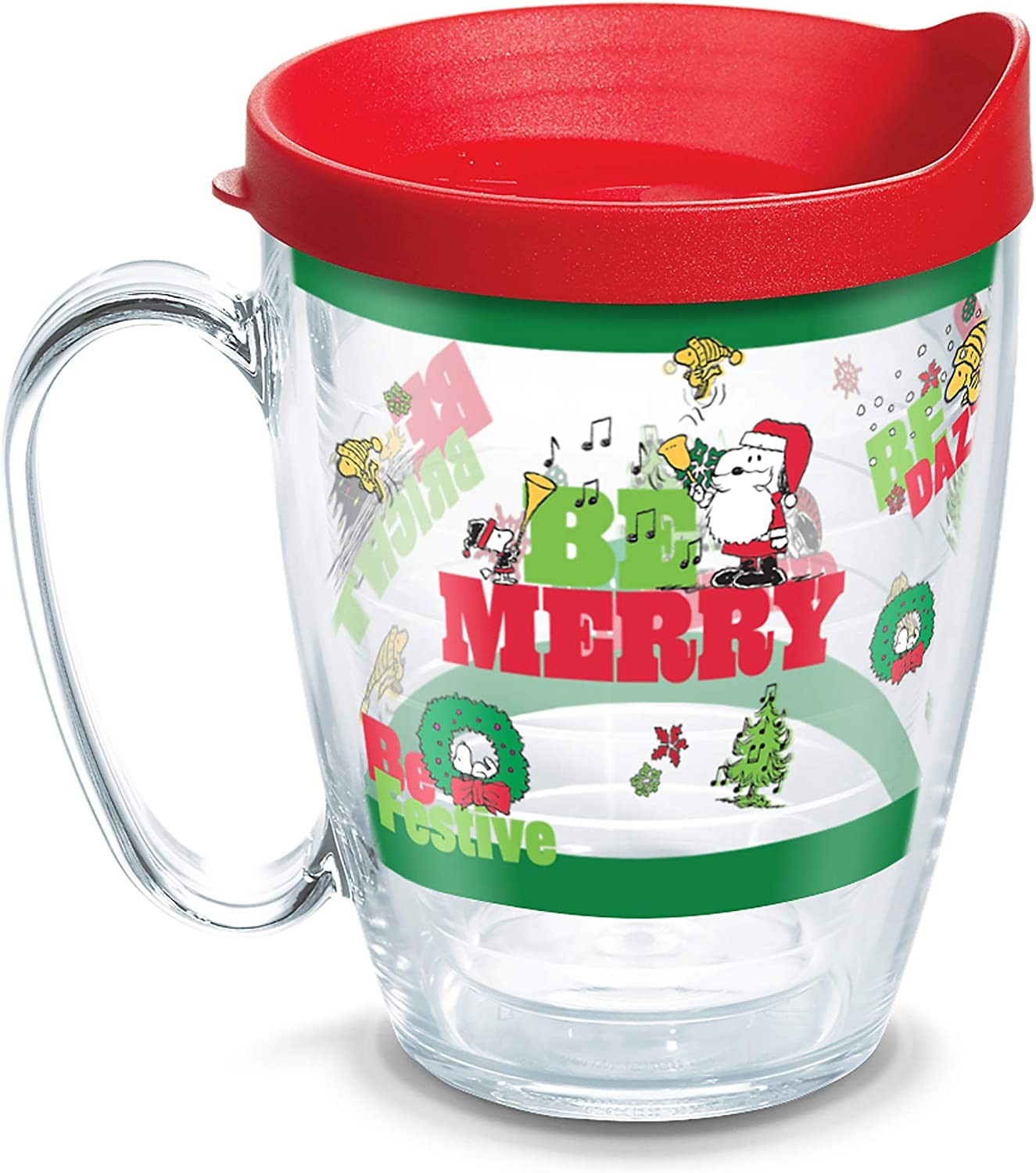 Tervis 1335799 Peanuts Holiday 2019 Insulated Tumbler with Wrap and Red Lid, 16 oz, Clear