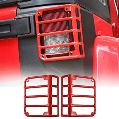 Hooke Road Tail Light Guards Red Rear Taillight Covers for 2007-2020 Jeep Wrangler JK - Pair: Automotive [5Bkhe2006076]