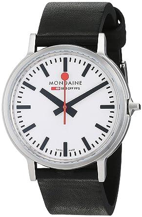 Mondaine SBB Stop2go 41mm A5123035816SBB Reloj de pulsera Cuarzo Hombre correa de Cuero Negro: Amazon.es: Relojes