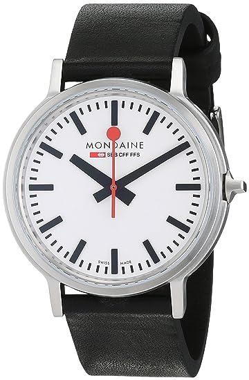 Mondaine SBB Stop2go 41mm A5123035816SBB Reloj de pulsera Cuarzo Hombre correa de Cuero Negro