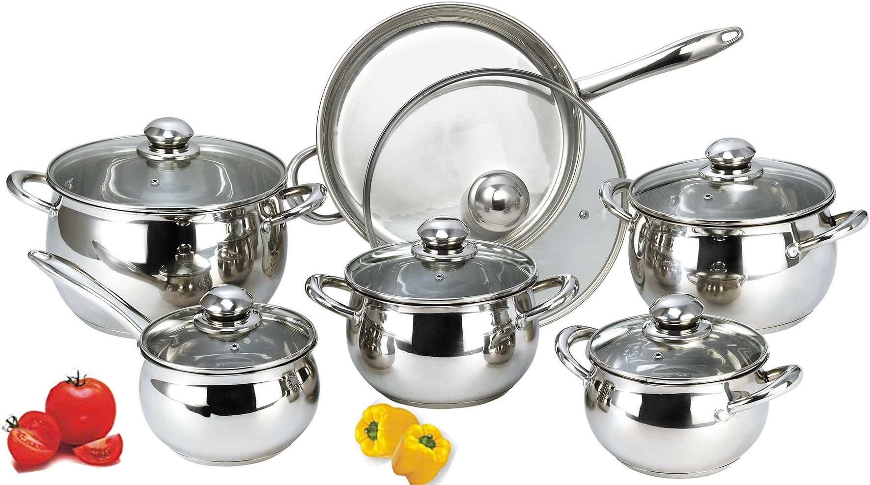 Hth Stainless Steel Pots And Pans Set 12 Piece Cookware Kitchen Set Cooking Starter Kit With A Saucepans With Lids And 4 Different Sizes Casserole Pot With Lid Price In Uae