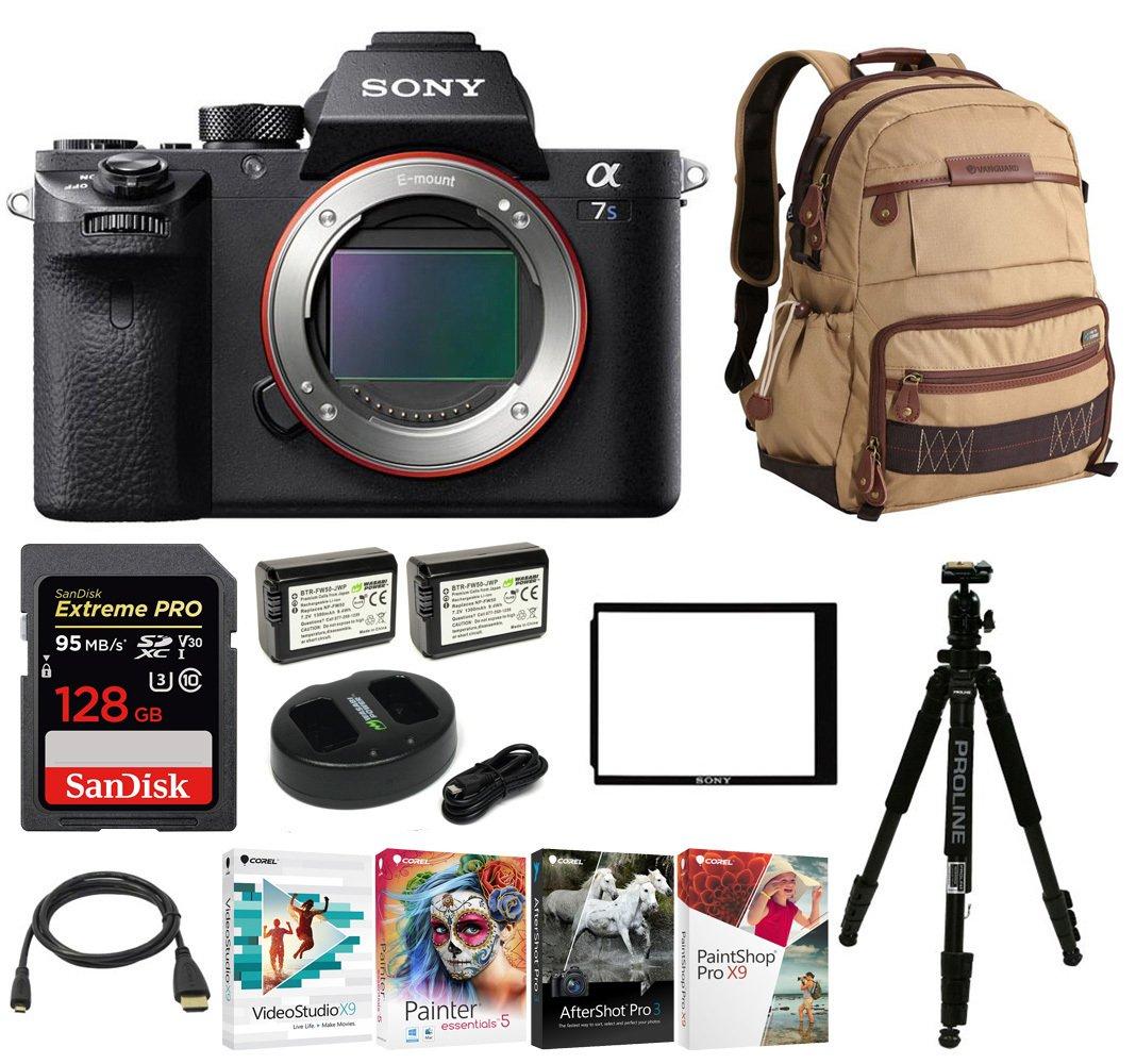 Sony Alpha a7SII Mirrorless Digital Camera w/ Laptop Storage Backpack & 128 GB Memory Card Bundle (Body Only)