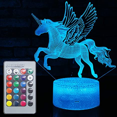 Unicorn Night Lights,3D Optical Illusion LED Lamps with Remote Control /& RGB Colors Sleep Aid /& Night Guidance Home Bedroom Decorations Bday Party,Christmas Gift Ideas for Girls Teen Mothers