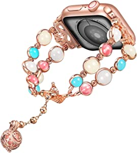 TILON for Apple Watch Band 38mm/40mm 42mm/44mm Series 5 4 3 2 1, Adjustable Wristband Handmade Night Luminous Pearl iWatch Bracelet with Essential Oil Pendant for Women/Girls-Updated Clasp