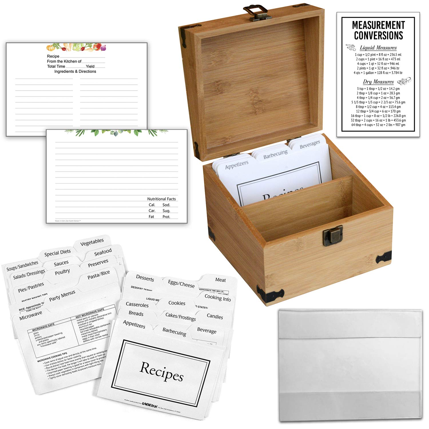 Zen Earth Ultimate Kitchen Recipe Box & Labeleze Bundle - Luxury Handcrafted Bamboo Wood Case With Card Holder Groove - 350+ 4x6'' Recipe & Index Card Capacity Recipe Cards & Clear Card Frame Included by Zen Earth
