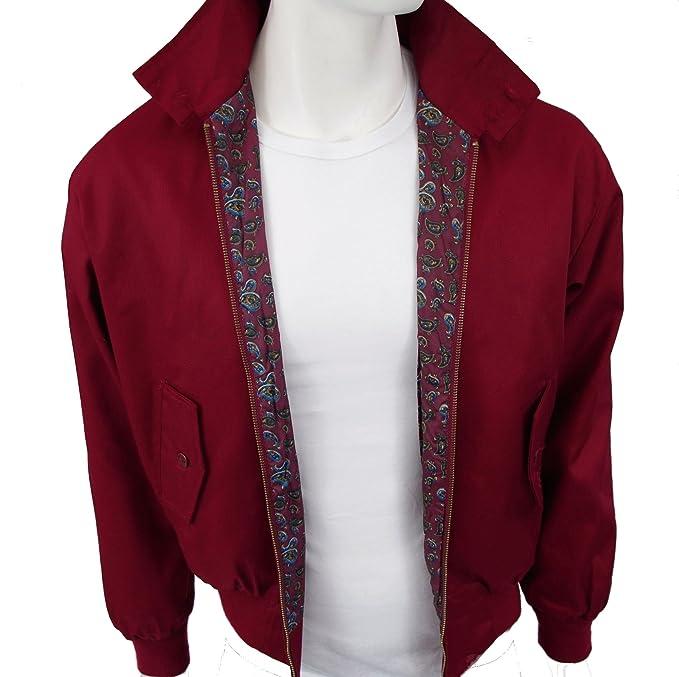 Harrington chaqueta burdeos con forro de cachemira de ...