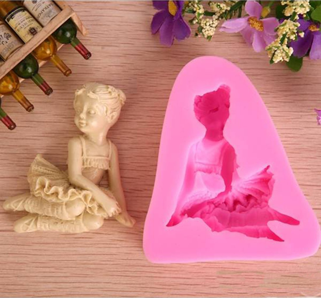 3D Ballet Girl Silicone Fondant Mold Chocolate Soap Mould Sugar Craft