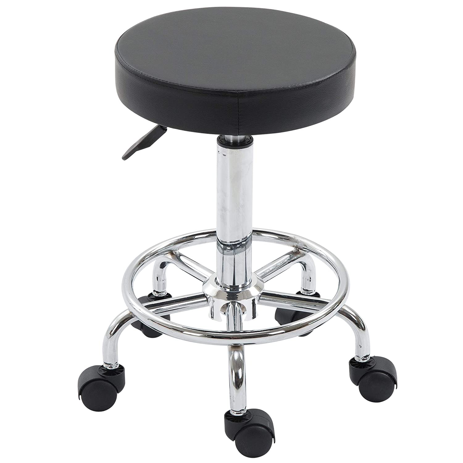 Adjustable Swivel Salon Stool Hydraulic PU Barber Rolling Massage Tattoo Chair Bar Beauty SPA Seat Black Aosom Canada