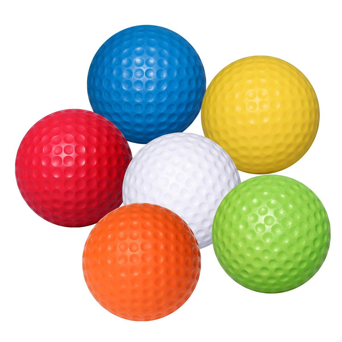 WINOMO 6pcs Soft Flexible Practice Golf Balls PU Golfballs Indoor Outdoor Training Golf Ball (White + Yellow + Blue + Red + Orange + Green)