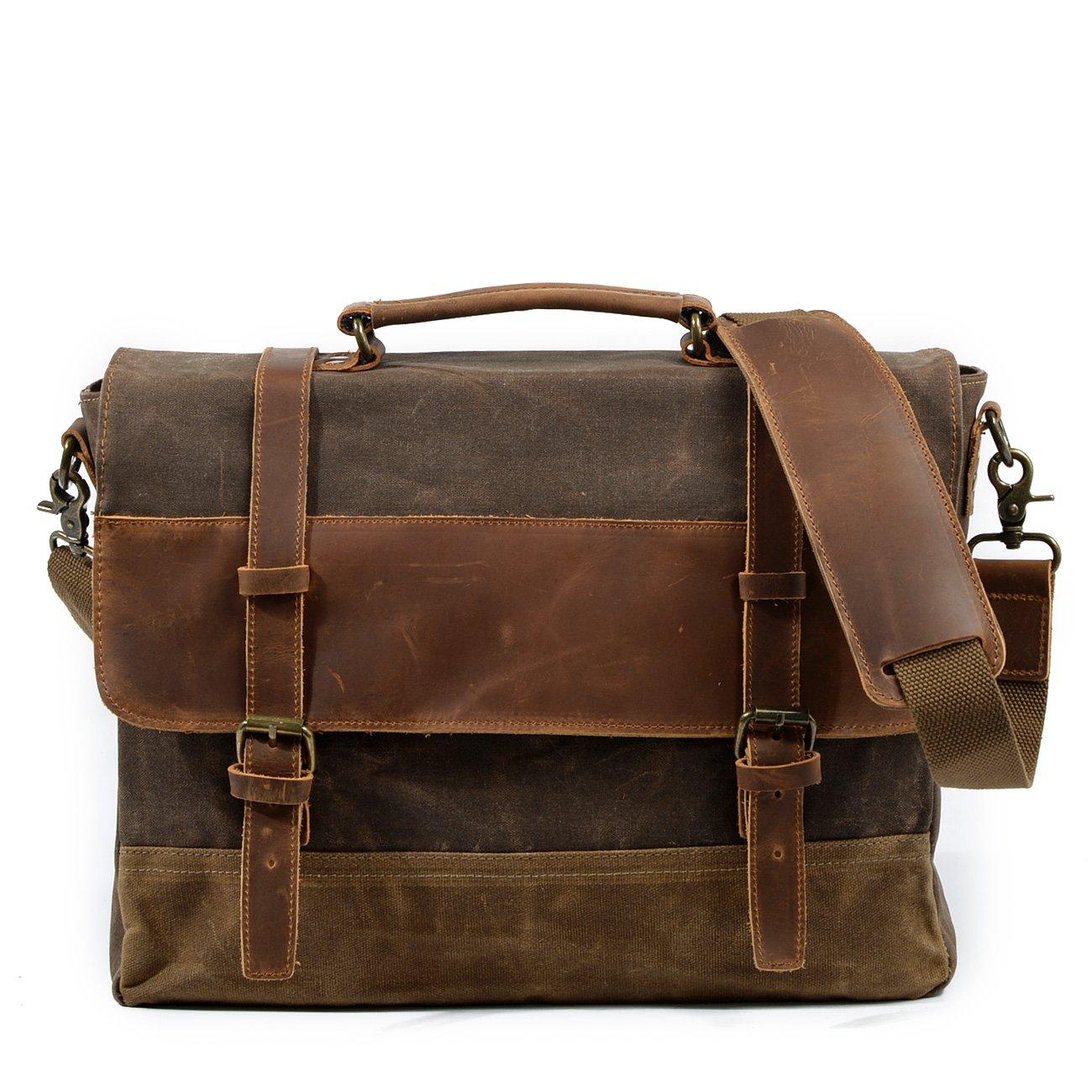 Amazon.com  Mens Vintage Retro Genuine Leather Messenger Bag Waterproof  Canvas Leather Computer Laptop Bag 15 Inch Briefcase Case (Dark Grey)   Computers   ... 5e85ca4c1f09e