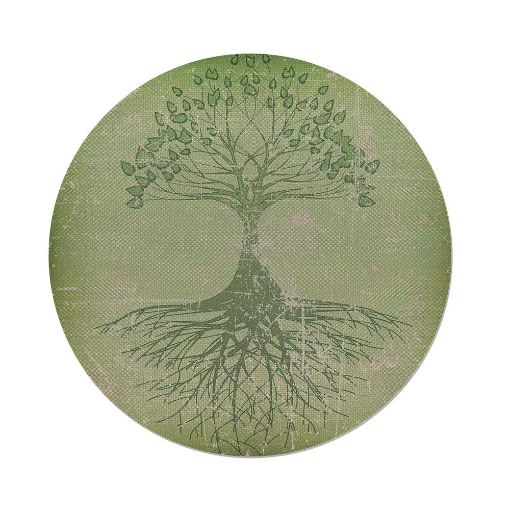 Cotton Linen Round Tablecloth,Tree of Life,Grunge Style Tree with Roots in Soil Reflection Mystic Life Wisdom Growth Aged Look,Green,Dining Room Kitchen Table Cloth Cover
