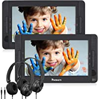 """NAVISKAUTO 10.5"""" Dual Screen DVD/CD Player for Kids with 5-Hour Built-in Rechargeable Battery, Supports USB/SD Card Playback and Last Memory"""
