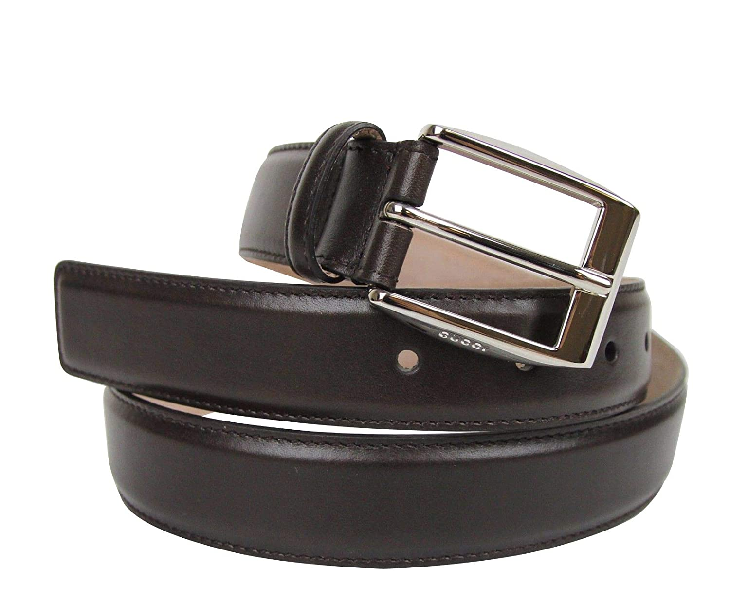 cb5f94cb537 Amazon.com  New Gucci Men s Classic Dark Brown Leather Belt with Square  Buckle 336831 2140  Clothing