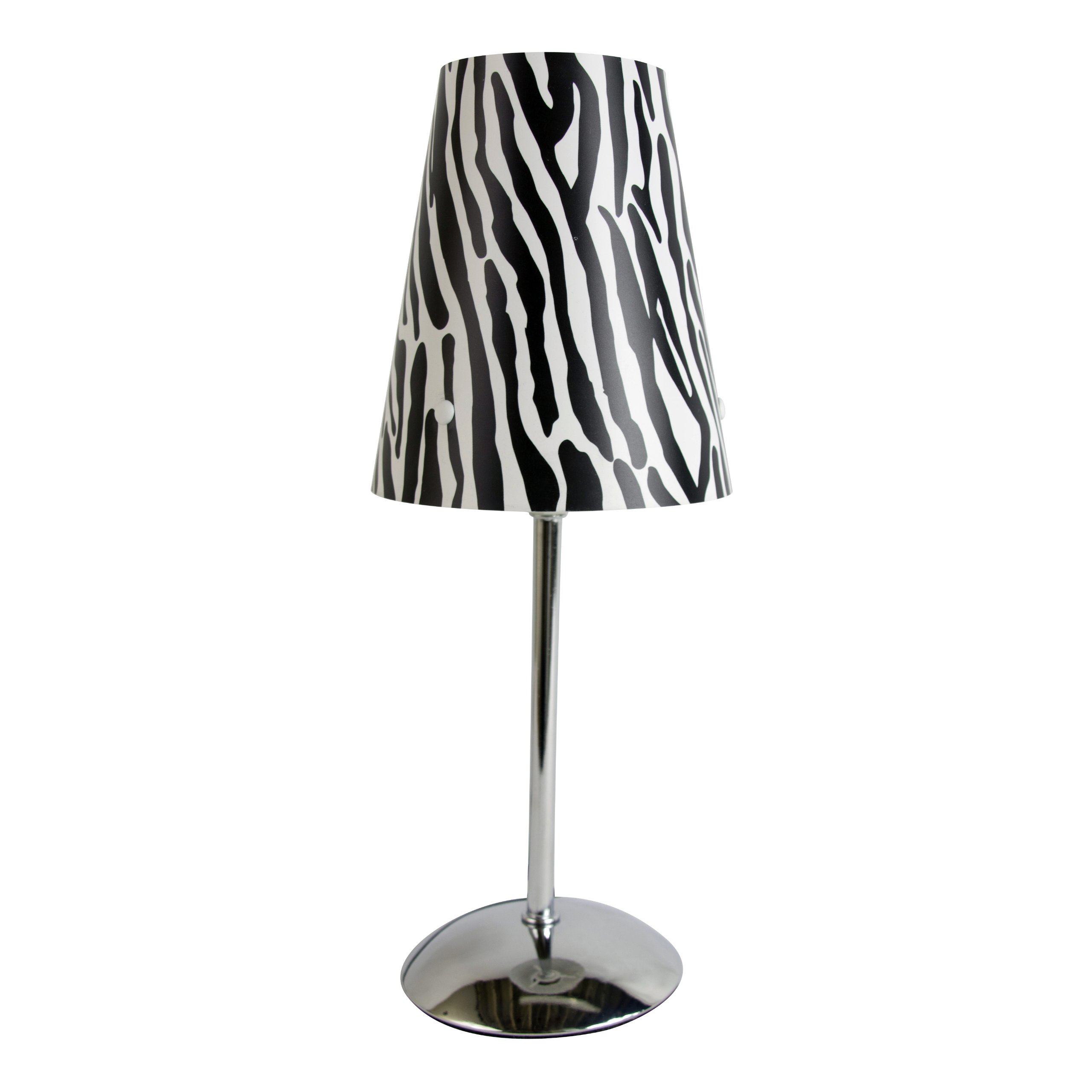 Limelights LT3024-ZBA Mini Silver Table Lamp with Animal Print Shade, 4.92'' x 4.92'' x 11.81'', Zebra